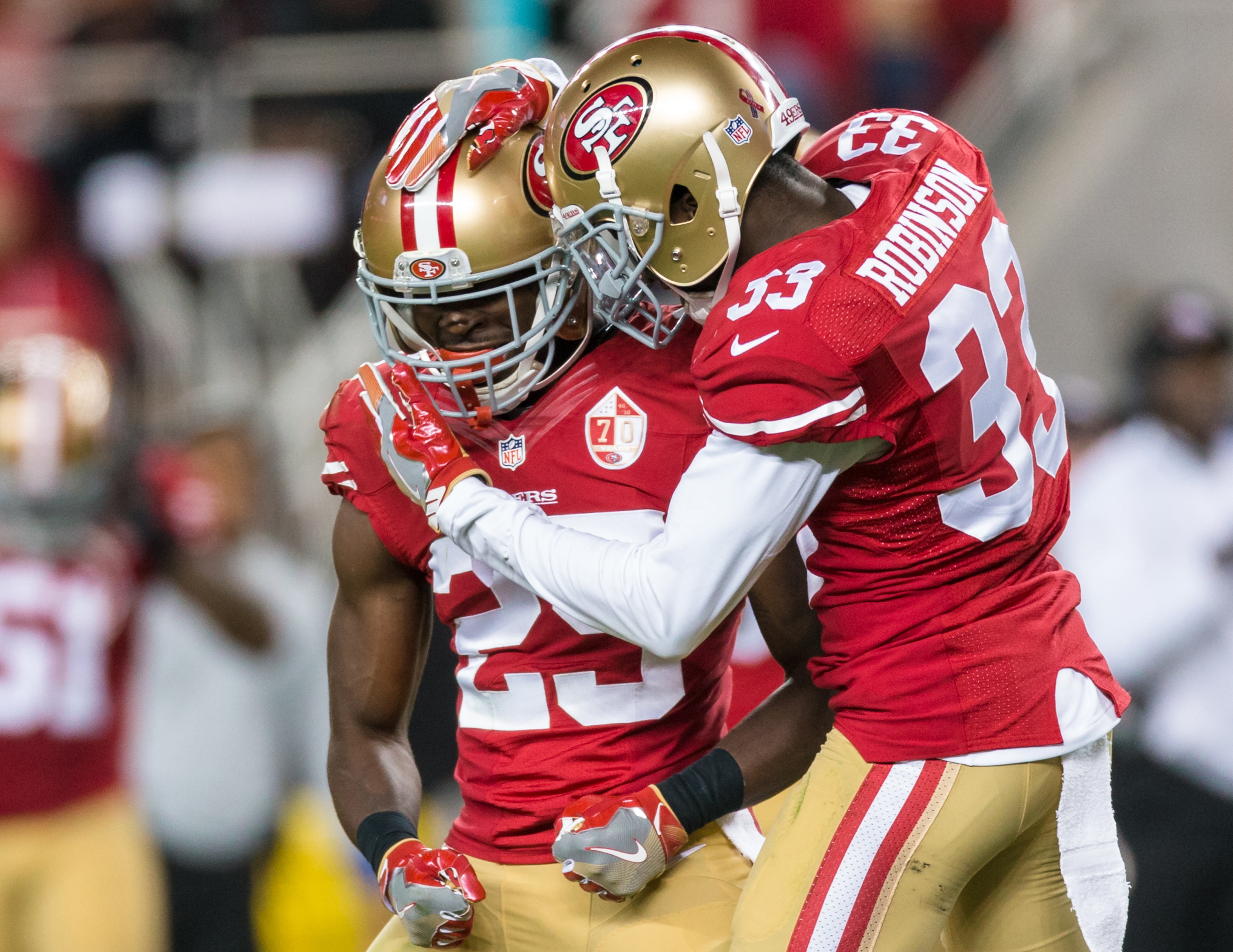 49ers 5 potential breakout players for san francisco in 2017 sep 12 2016 santa clara ca usa san francisco 49ers right cornerback jimmie ward 25 and cornerback rashard robinson 33 reacts in the game against voltagebd Gallery