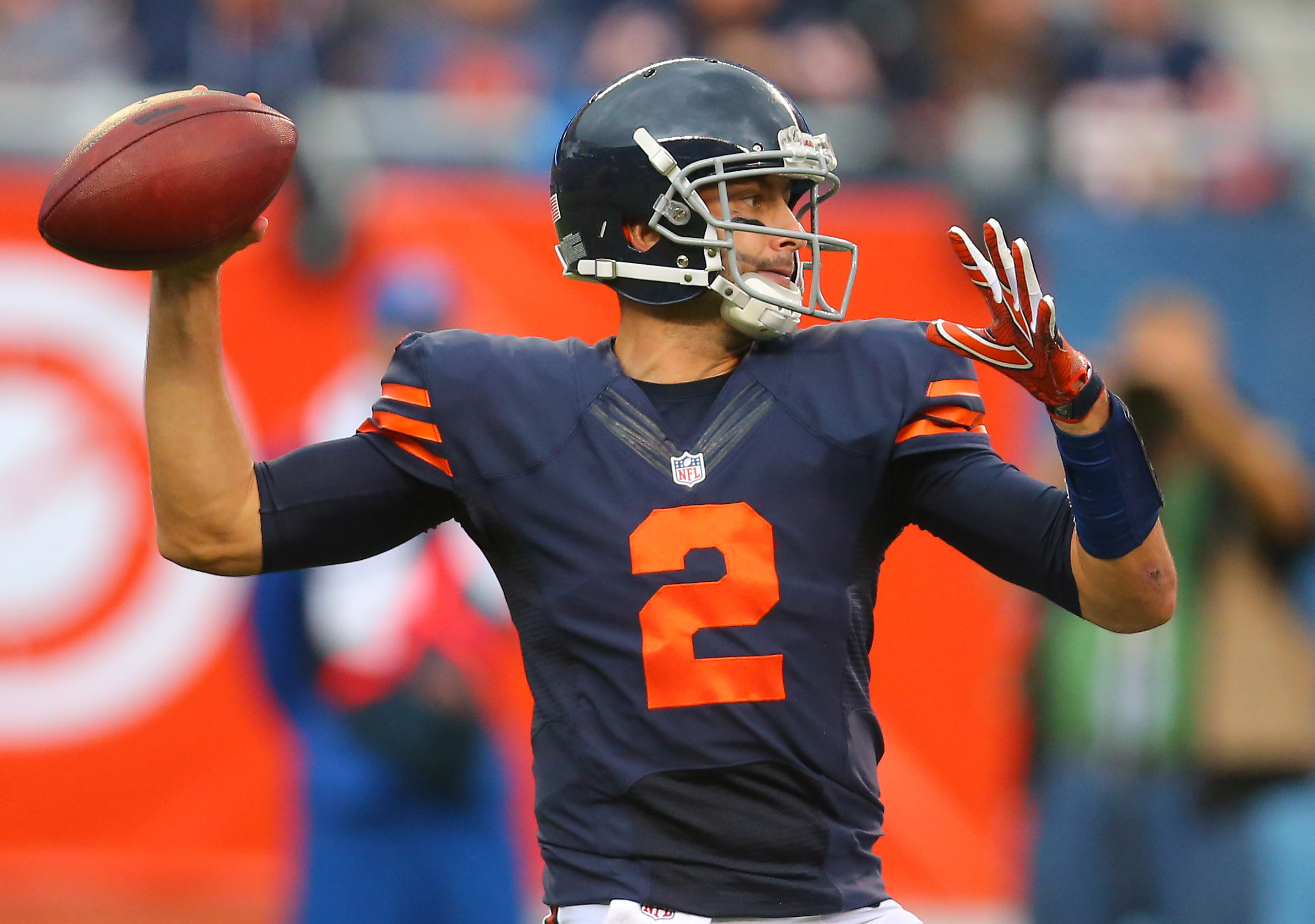 0c75d3a6dd7 Oct 2, 2016; Chicago, IL, USA; Chicago Bears quarterback Brian Hoyer (2)  throws a pass during the second half against the Detroit Lions at Soldier  Field.